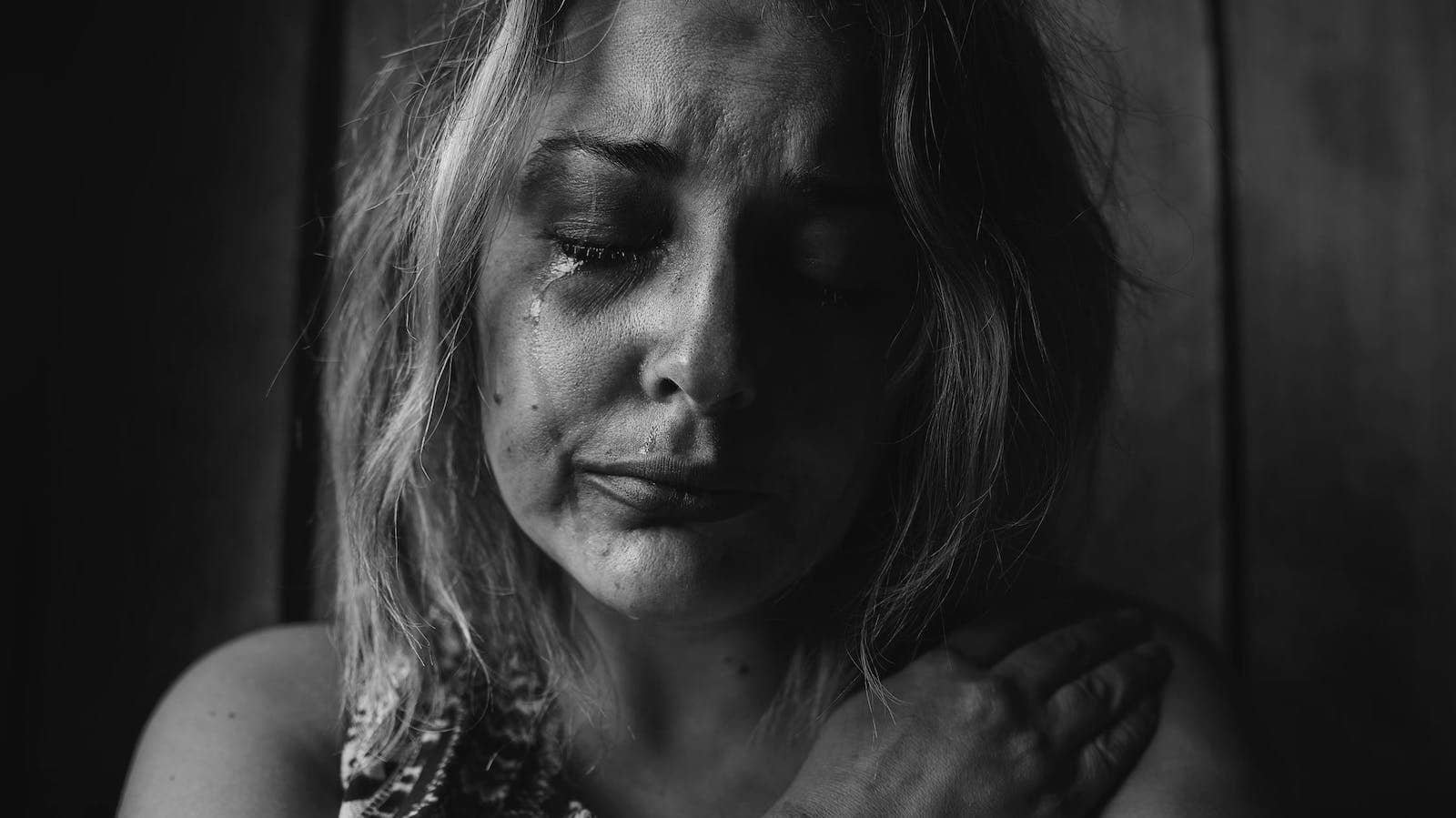 Tränenüberströmtes Gesicht